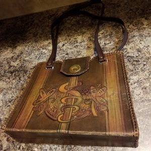 1930's Art Deco tooled leather bag amazing detail